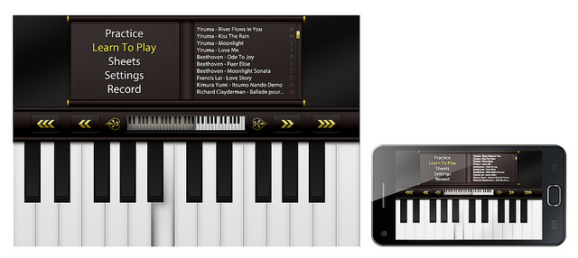 Virtual piano on a smartphone