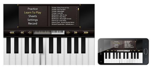 Virtual piano on a smartphone