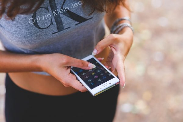 A girl using smartphone